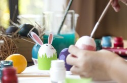 Coloring Easter Eggs for easter day concept
